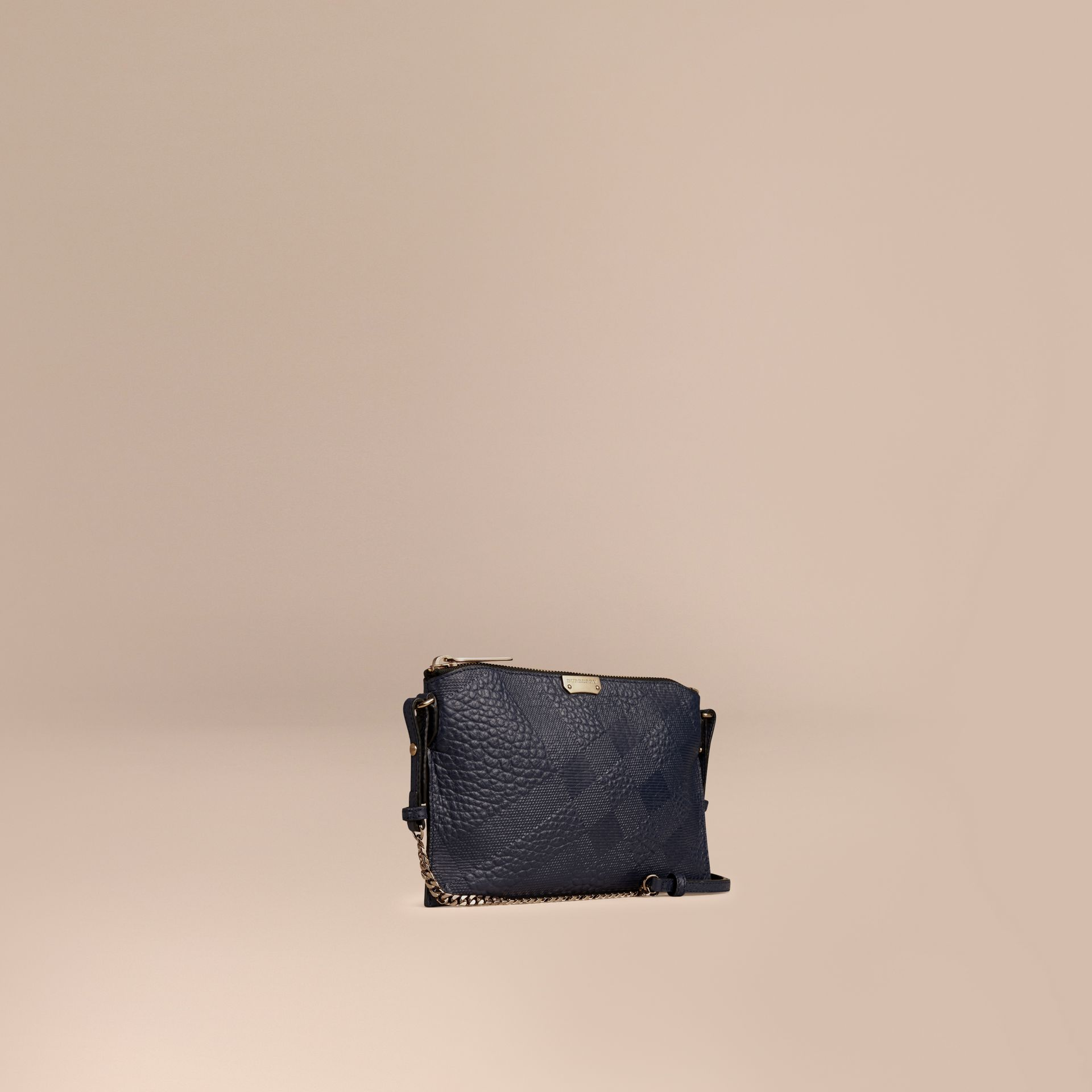 Blue carbon Check-embossed Leather Clutch Bag Blue Carbon - gallery image 1