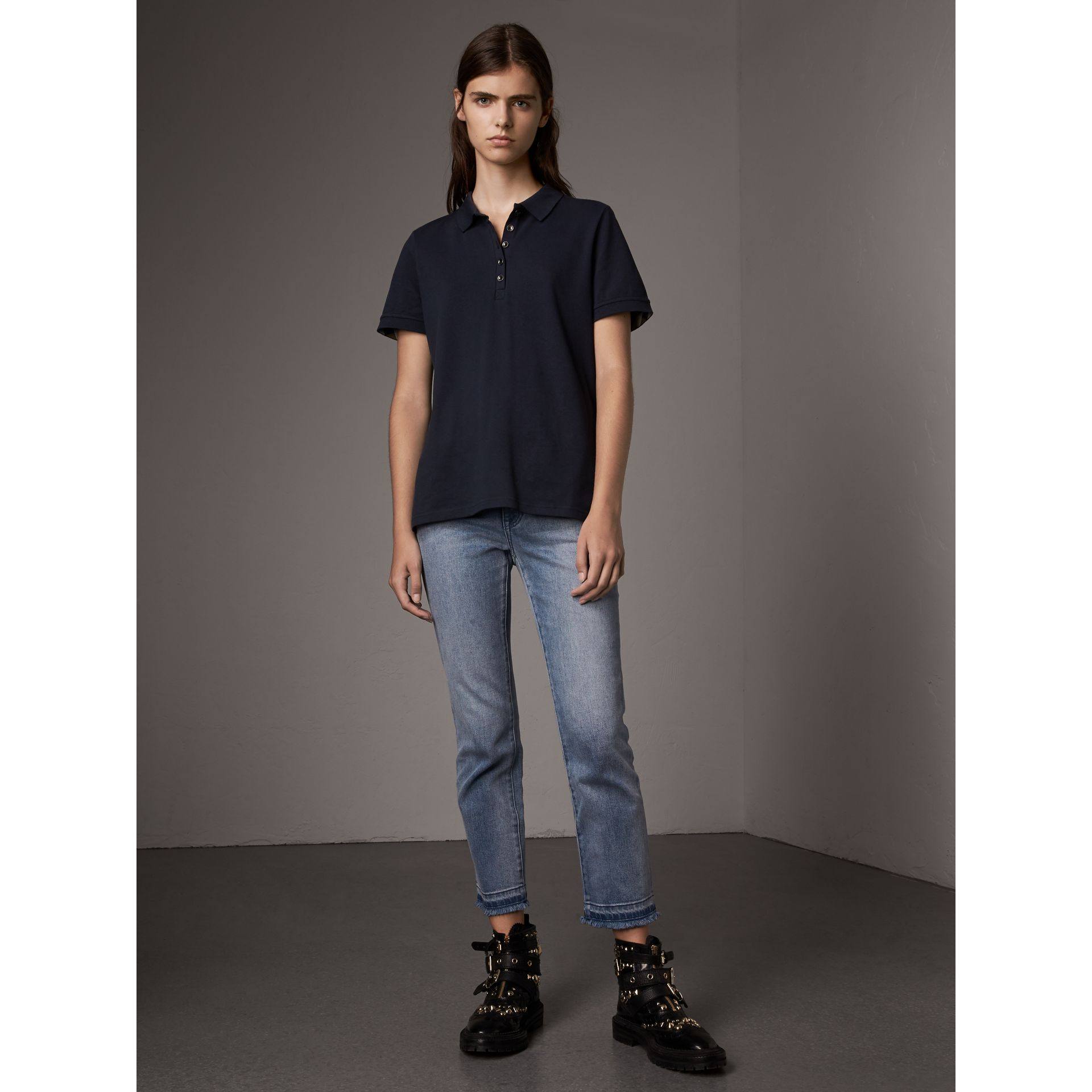 Check Trim Stretch Cotton Piqué Polo Shirt in Navy - Women | Burberry - gallery image 6