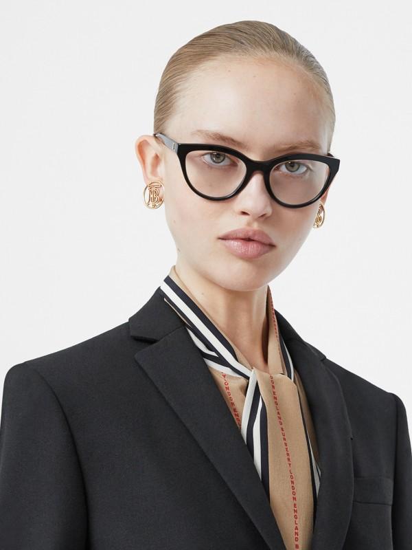Monture œil-de-chat pour lunettes de vue Monogram (Noir/vermillon) - Femme | Burberry Canada - cell image 2