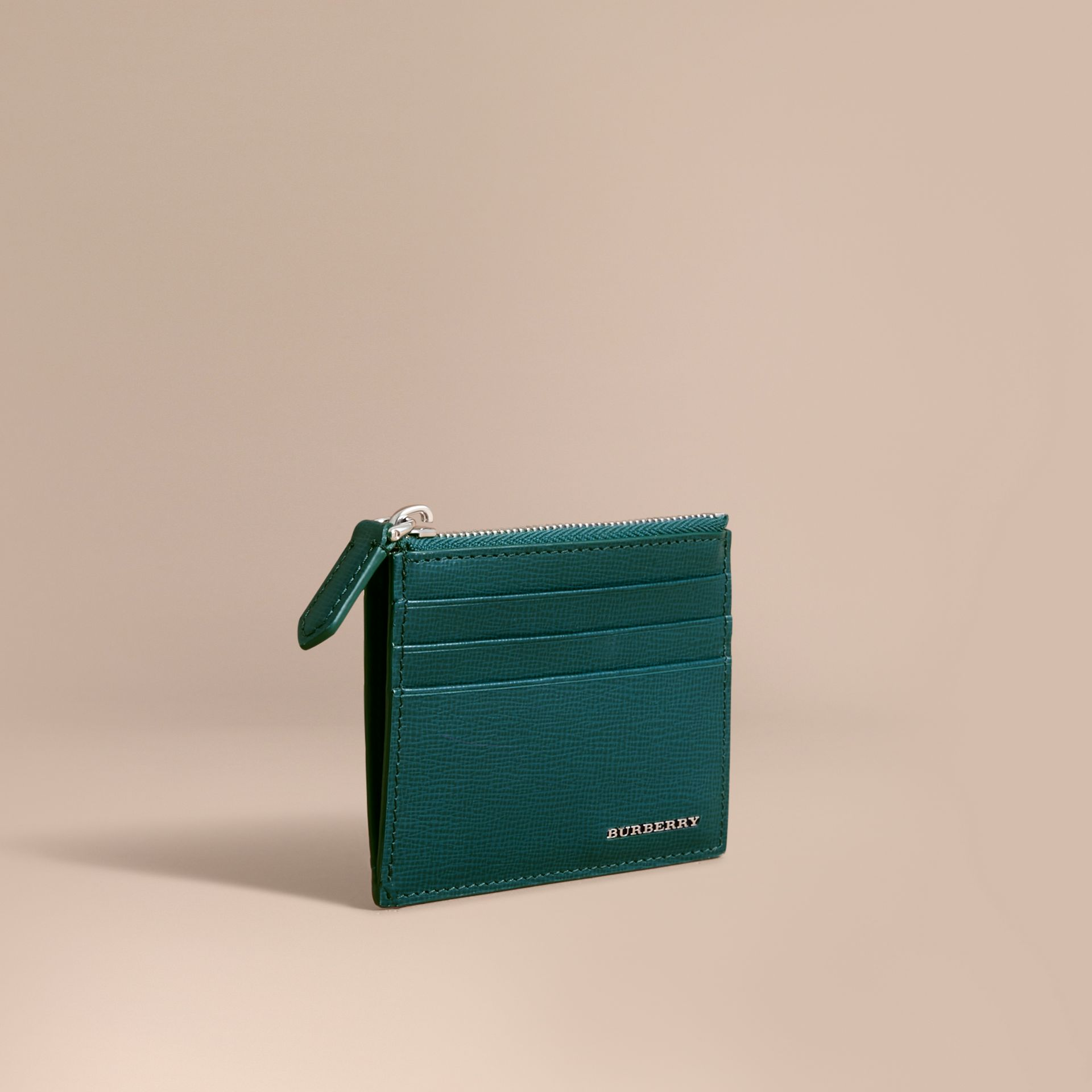 London Leather Zip-top Card Case in Dark Teal | Burberry - gallery image 0
