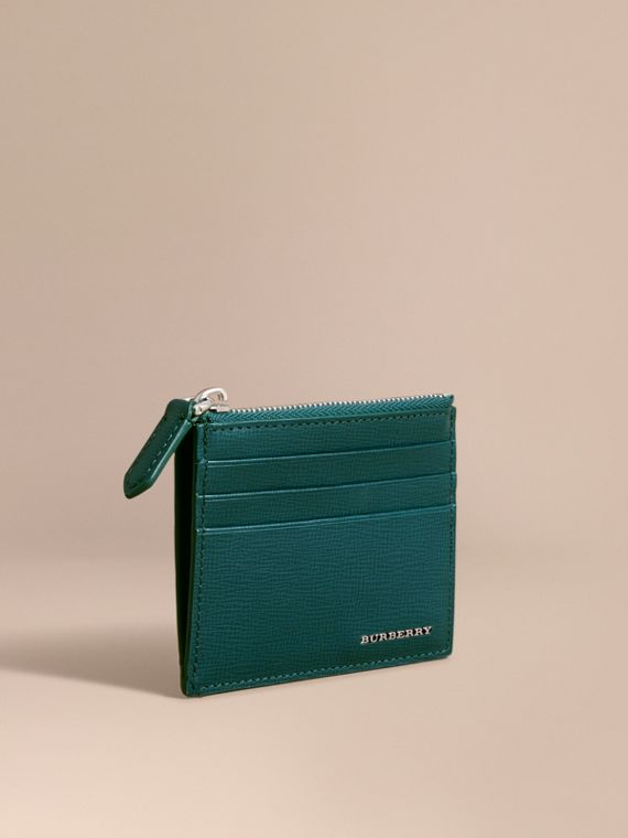 London Leather Zip-top Card Case in Dark Teal | Burberry