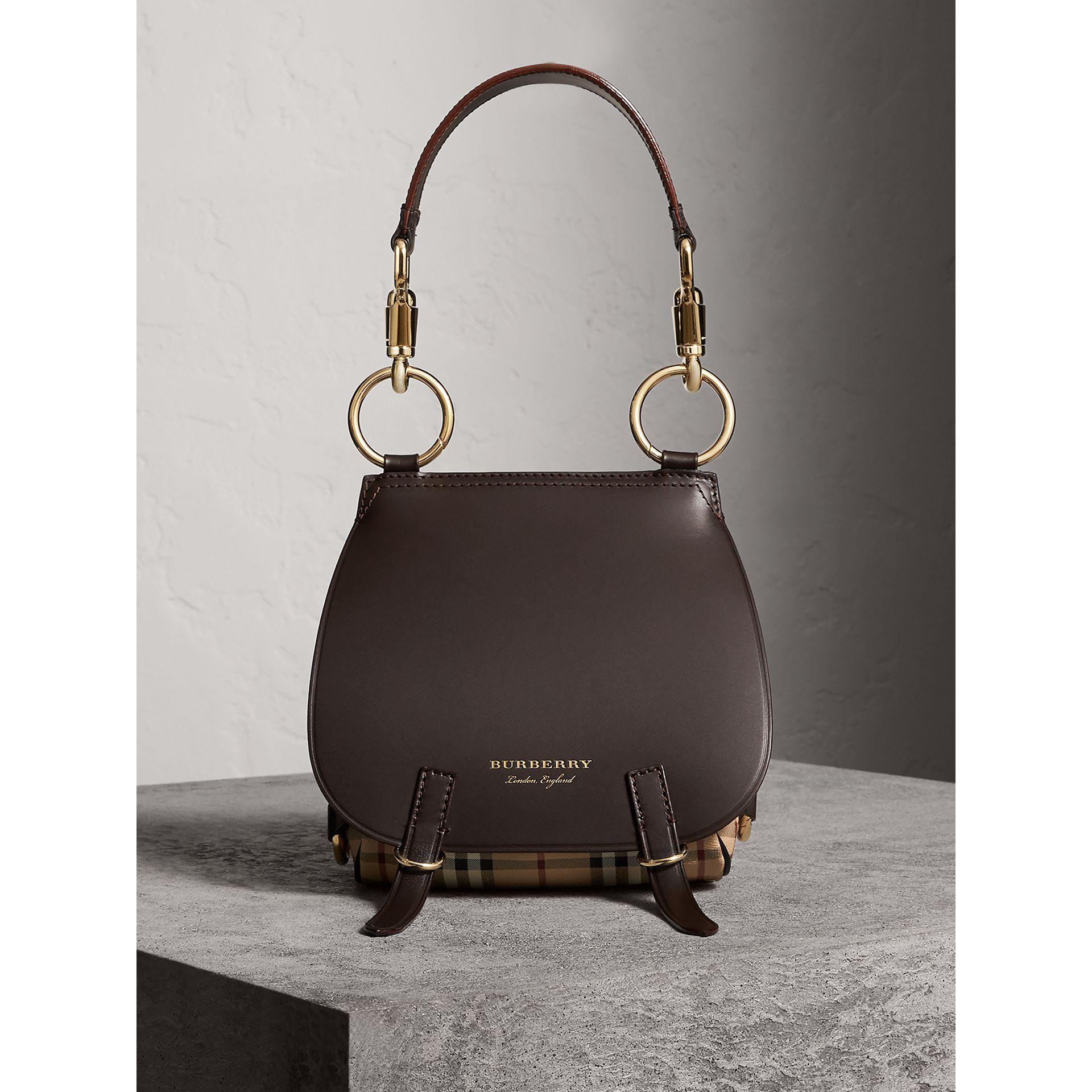 The Bridle Bag in Leather and Haymarket Check in Dark Clove Brown - Women | Burberry - gallery image 8