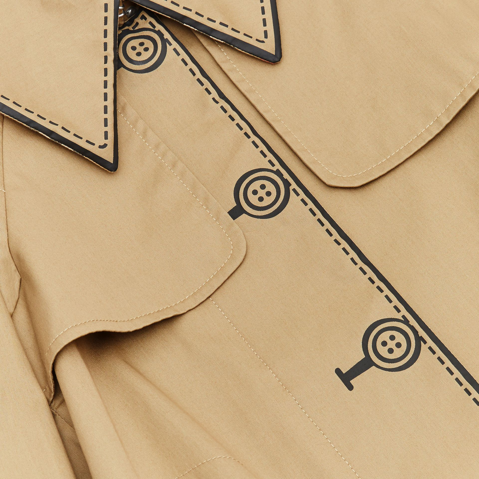 Trompe L'Oeil Cotton Swing Coat in Honey | Burberry United States - gallery image 1