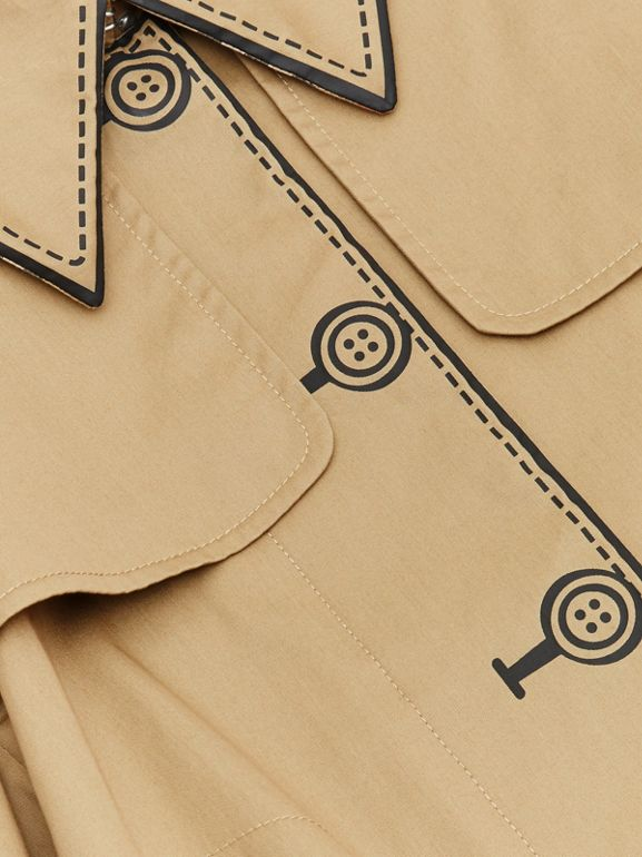 Trompe L'Oeil Cotton Swing Coat in Honey | Burberry - cell image 1