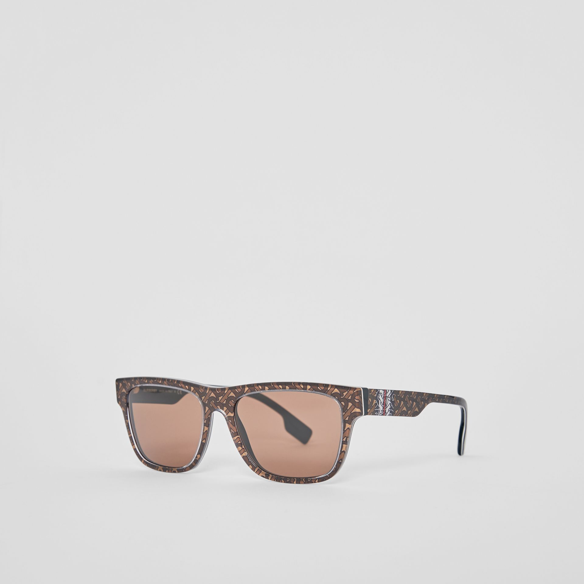 Monogram Stripe Square Frame Sunglasses in Honey | Burberry - gallery image 6