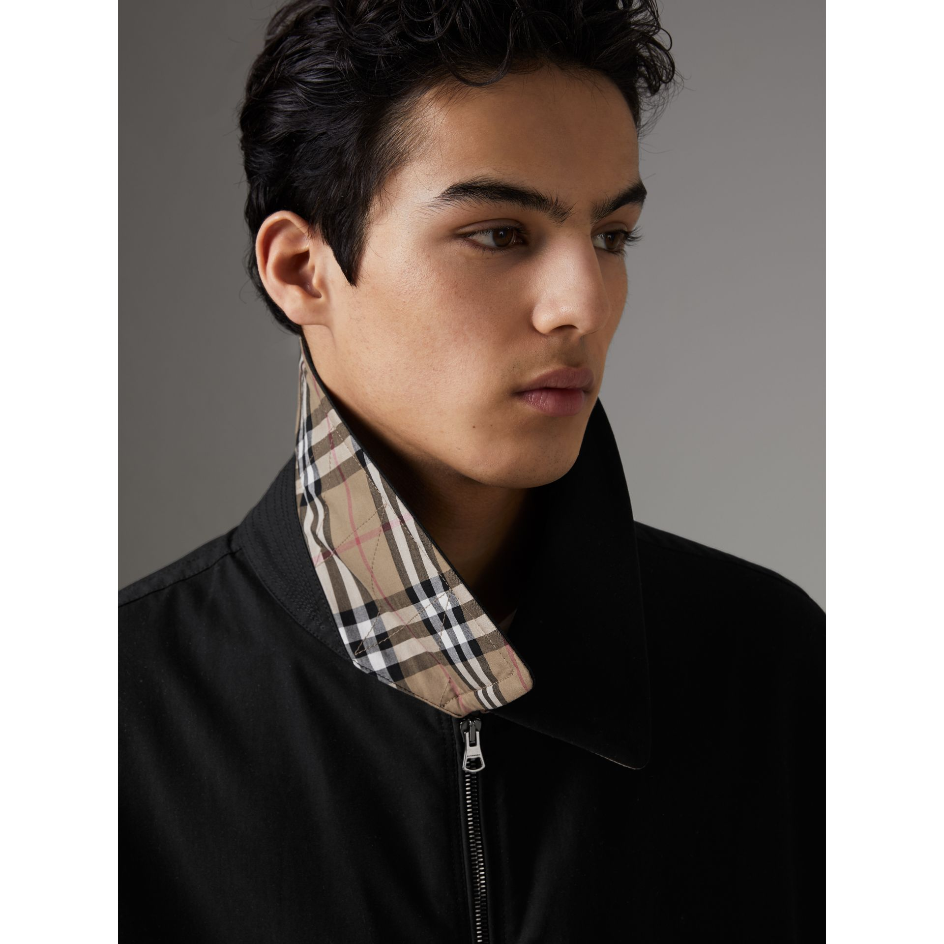 Tropical Gabardine Harrington Jacket in Black - Men | Burberry Australia - gallery image 4