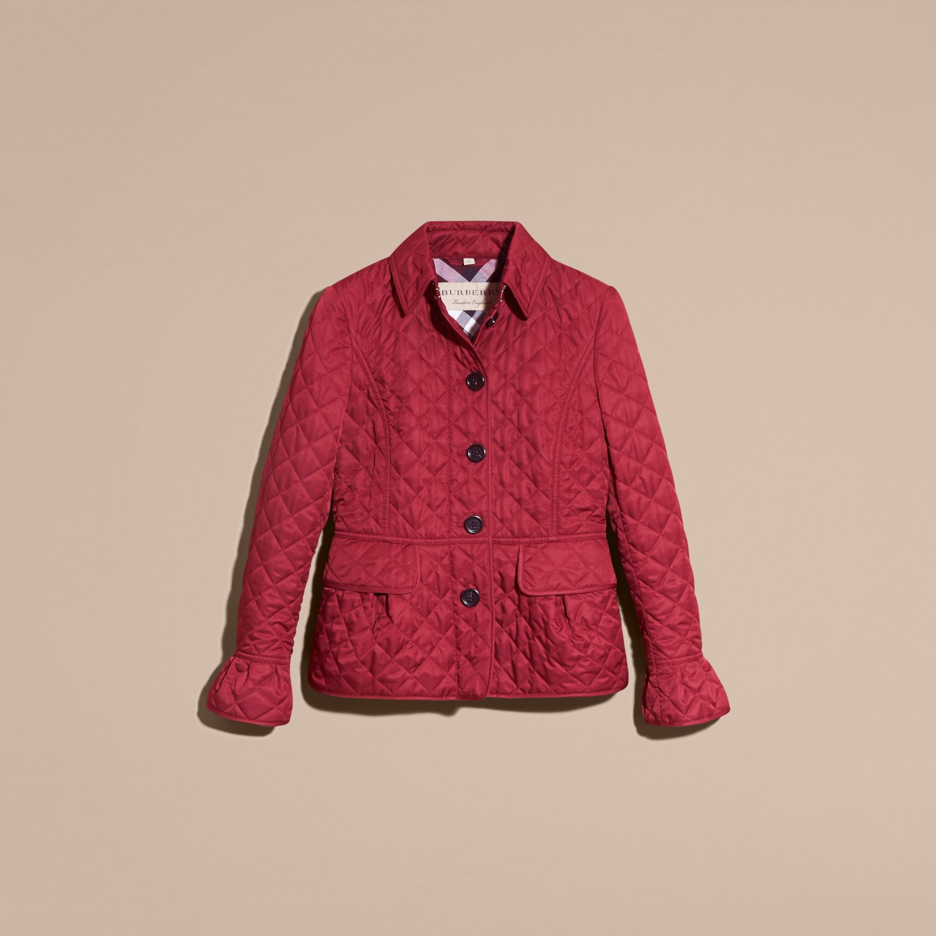 Diamond Quilted Peplum Jacket Dark Crimson - gallery image 4