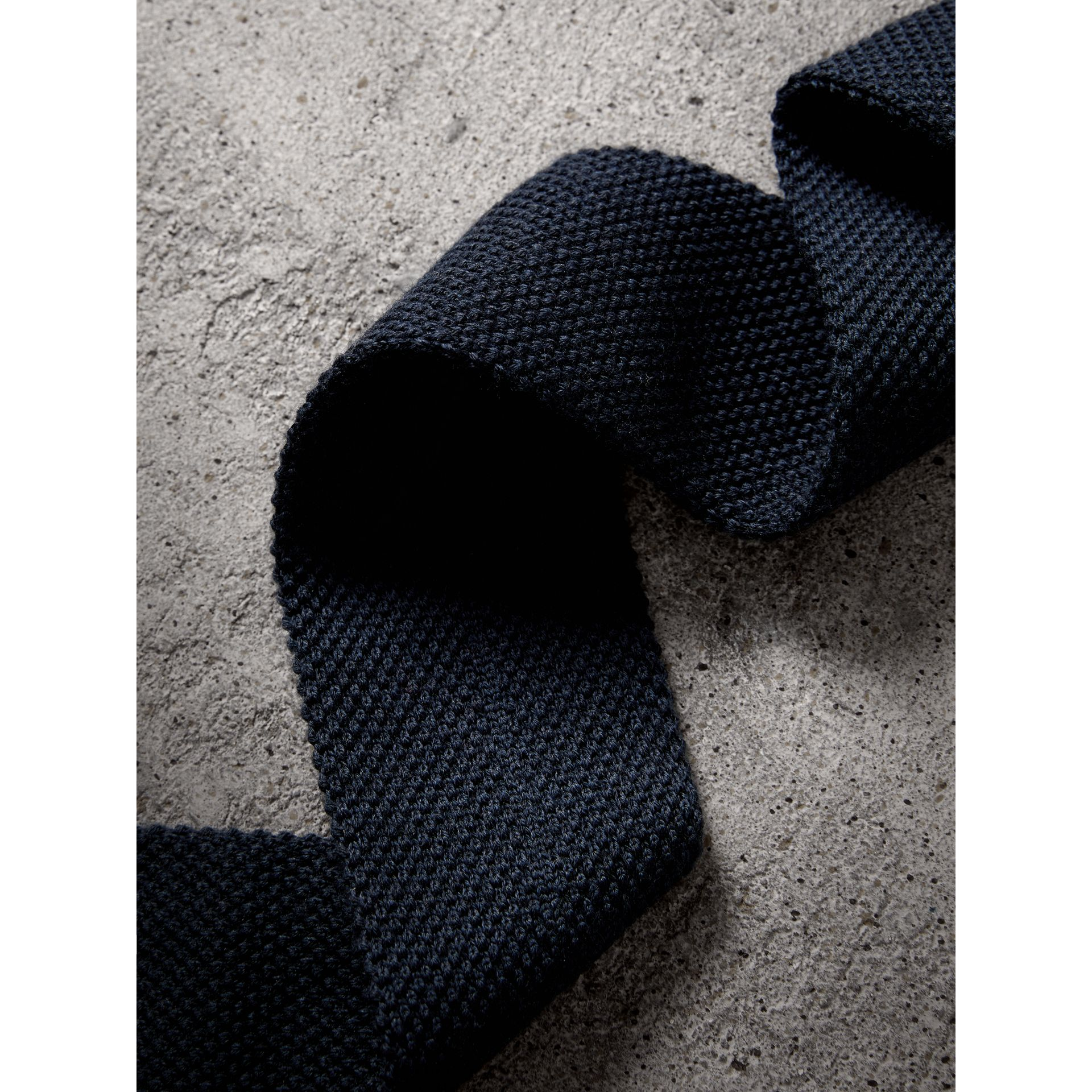 Slim Cut Waffle Knit Wool Tie in Navy - Men | Burberry - gallery image 2