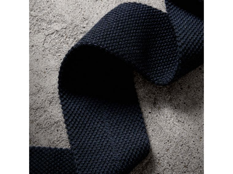 Slim Cut Waffle Knit Wool Tie in Navy - Men | Burberry United States - cell image 1