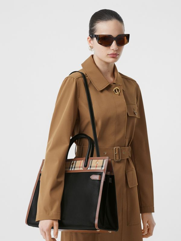 Medium Leather and Vintage Check Two-handle Title Bag in Black - Women | Burberry United Kingdom - cell image 2