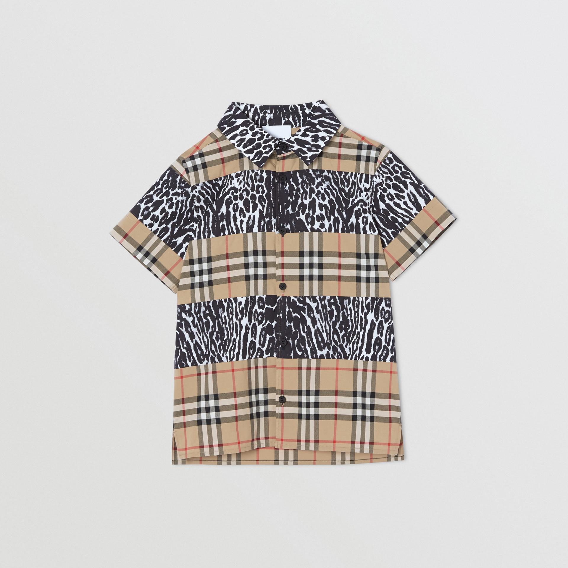 Camicia a maniche corte con motivo Vintage check e stampa leopardata (Beige Archivio) | Burberry - immagine della galleria 0