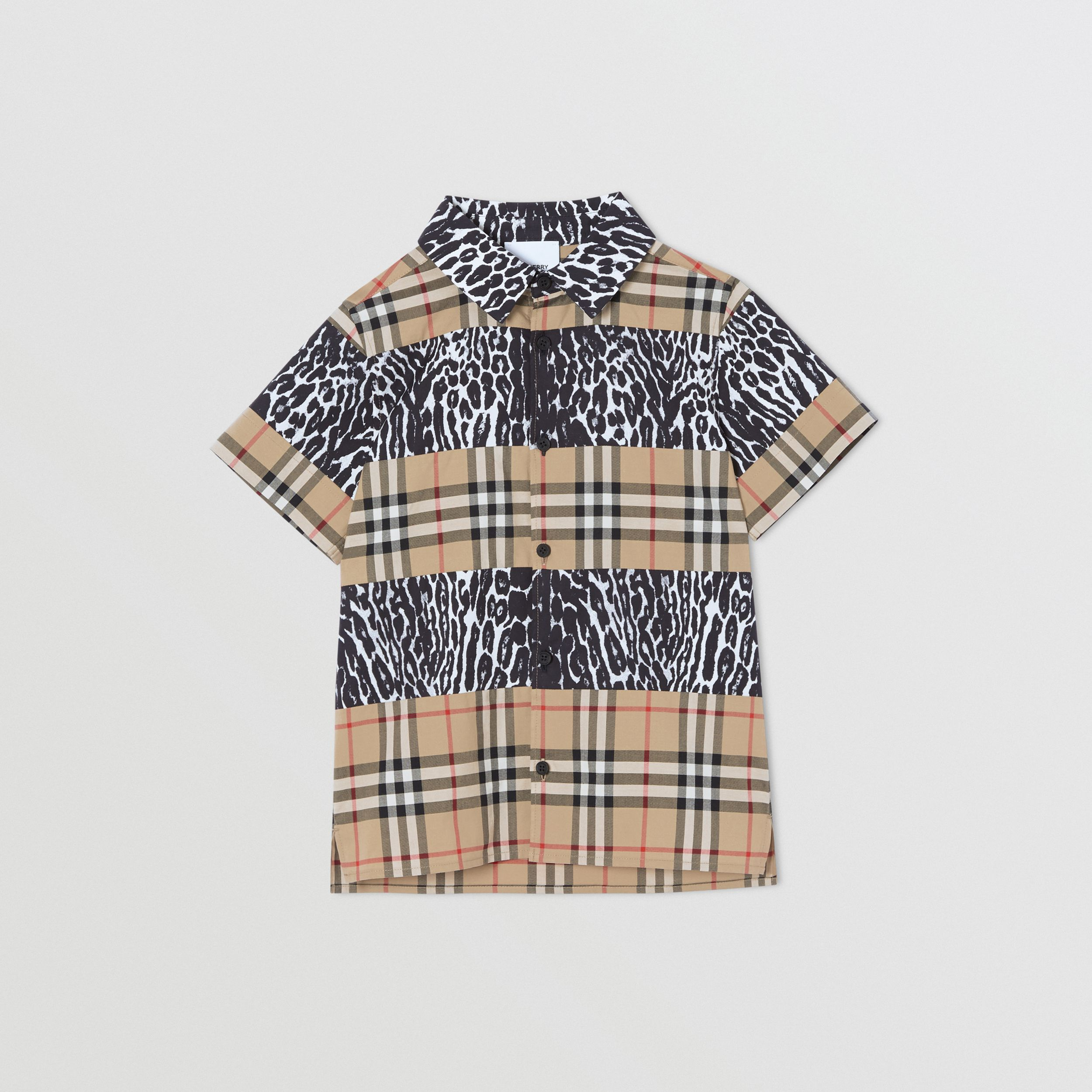 Short-sleeve Vintage Check and Leopard Print Shirt in Archive Beige | Burberry - 1