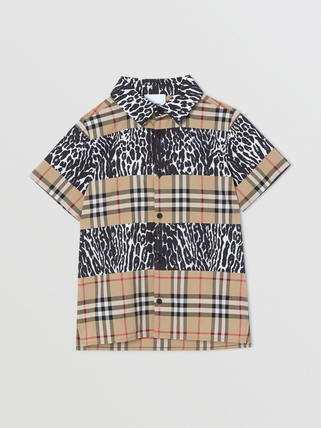 Short-sleeve Vintage Check and Leopard Print Shirt (Archive Beige)