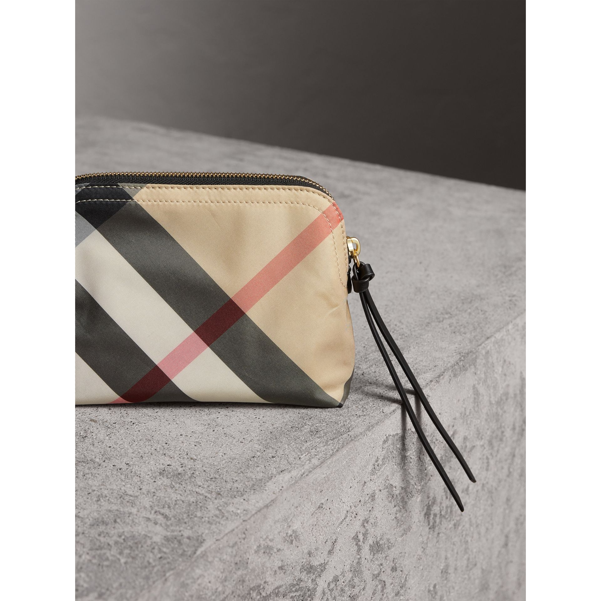 Medium Zip-top Check Technical Pouch in Camel - Women | Burberry - gallery image 3