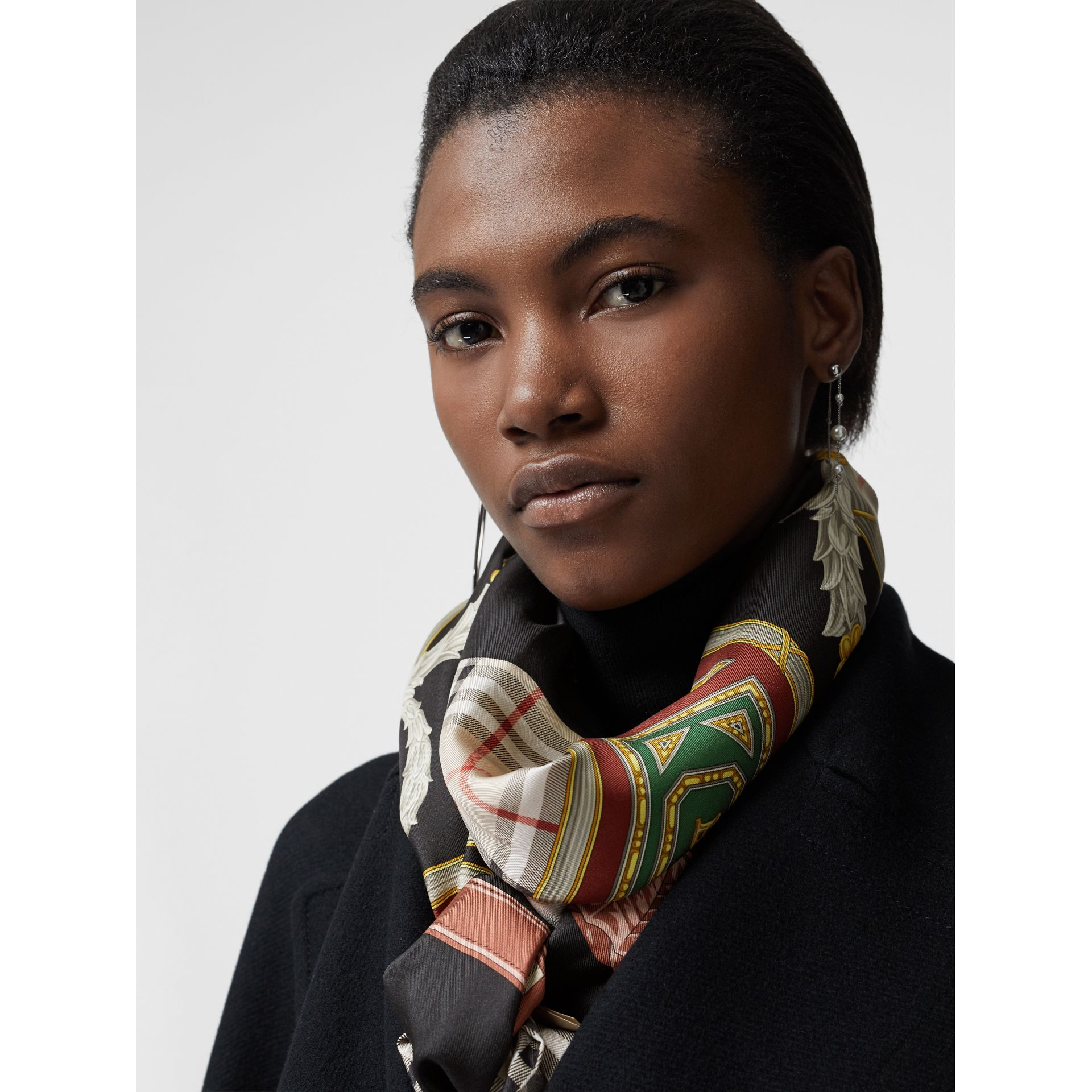 Archive Scarf Print Silk Scarf in Multicolour | Burberry - gallery image 5