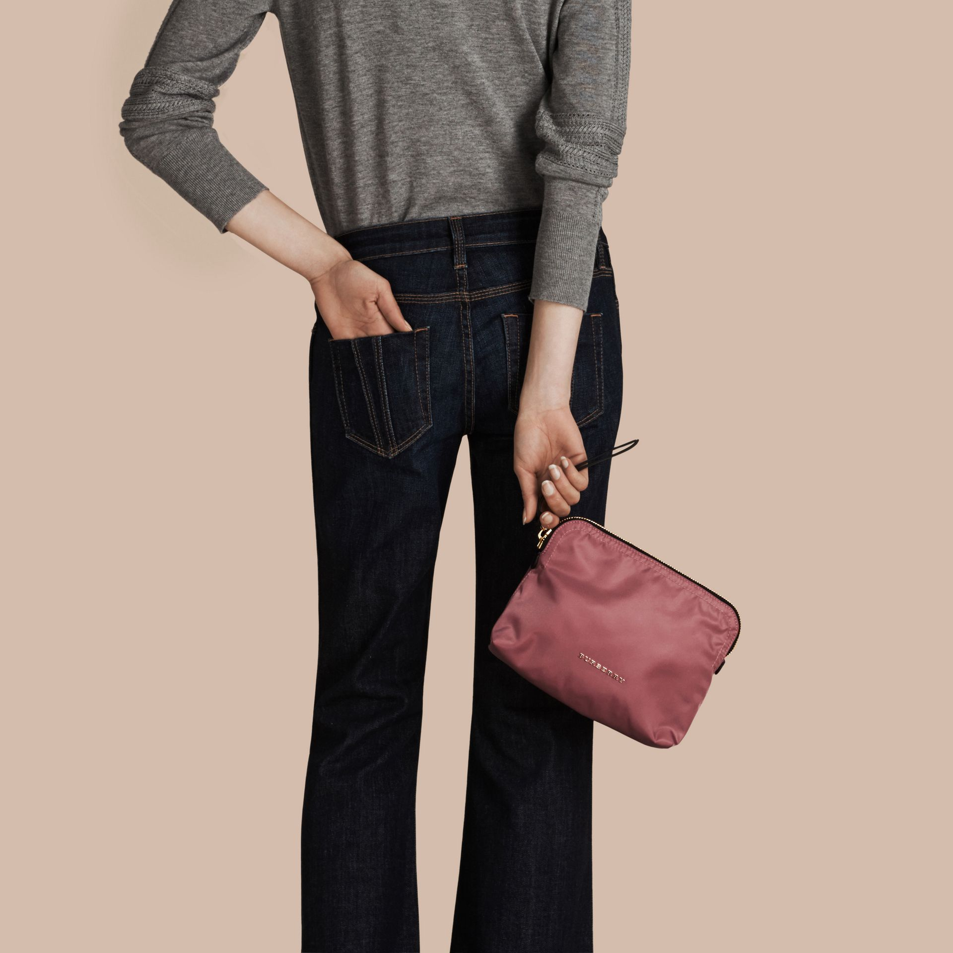 Large Zip-top Technical Nylon Pouch in Mauve Pink - Women | Burberry - gallery image 3