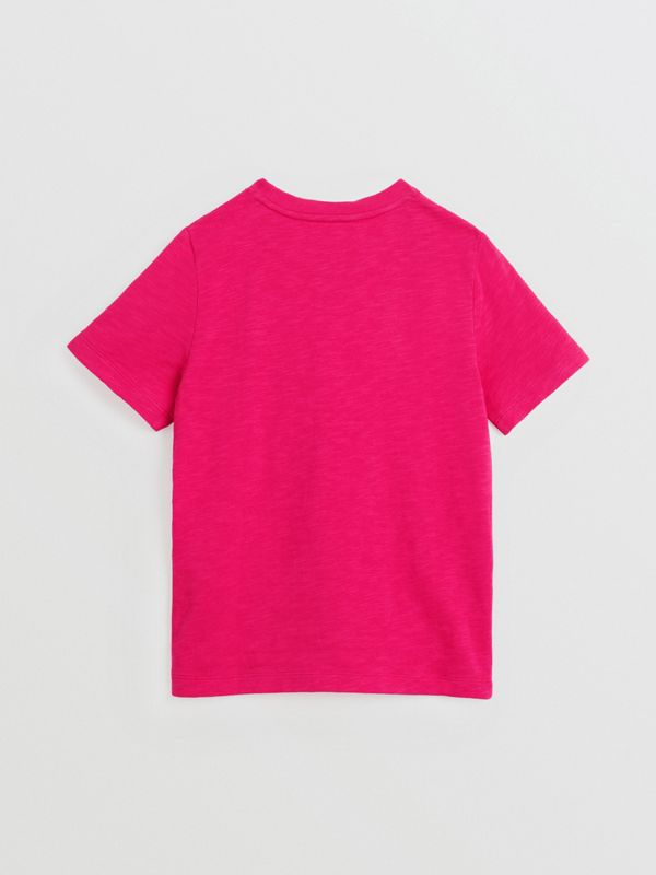 Logo Print Cotton T-shirt in Raspberry Pink | Burberry Canada - cell image 3