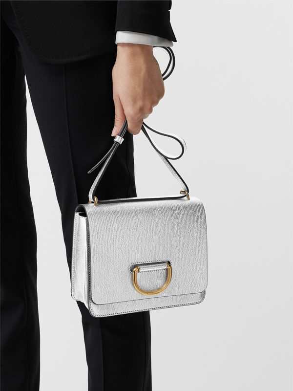 The Small Metallic Leather D-ring Bag in Silver - Women | Burberry - cell image 3