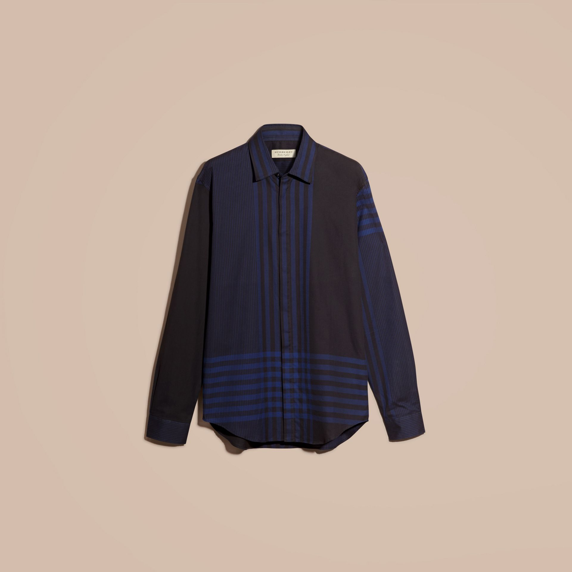 Bright navy Graphic Check Cotton Shirt Bright Navy - gallery image 4
