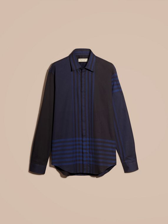 Bright navy Graphic Check Cotton Shirt Bright Navy - cell image 3
