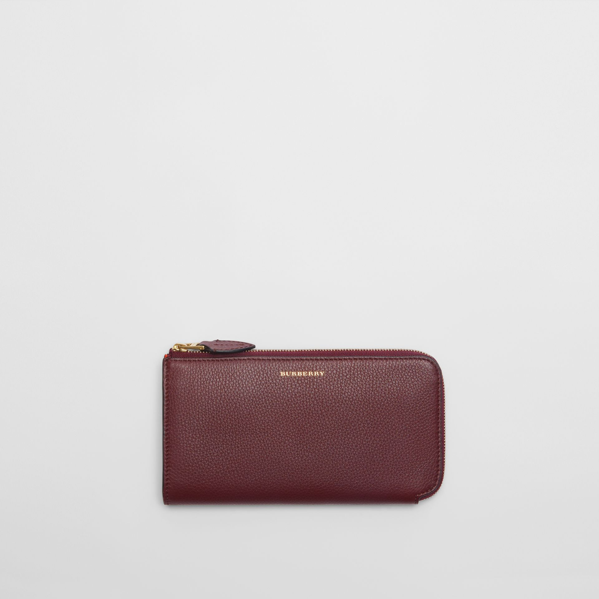 Two-tone Leather Ziparound Wallet and Coin Case in Deep Claret - Women | Burberry - gallery image 0
