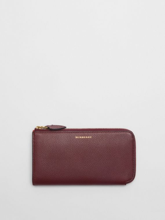 Two-tone Leather Ziparound Wallet and Coin Case in Deep Claret