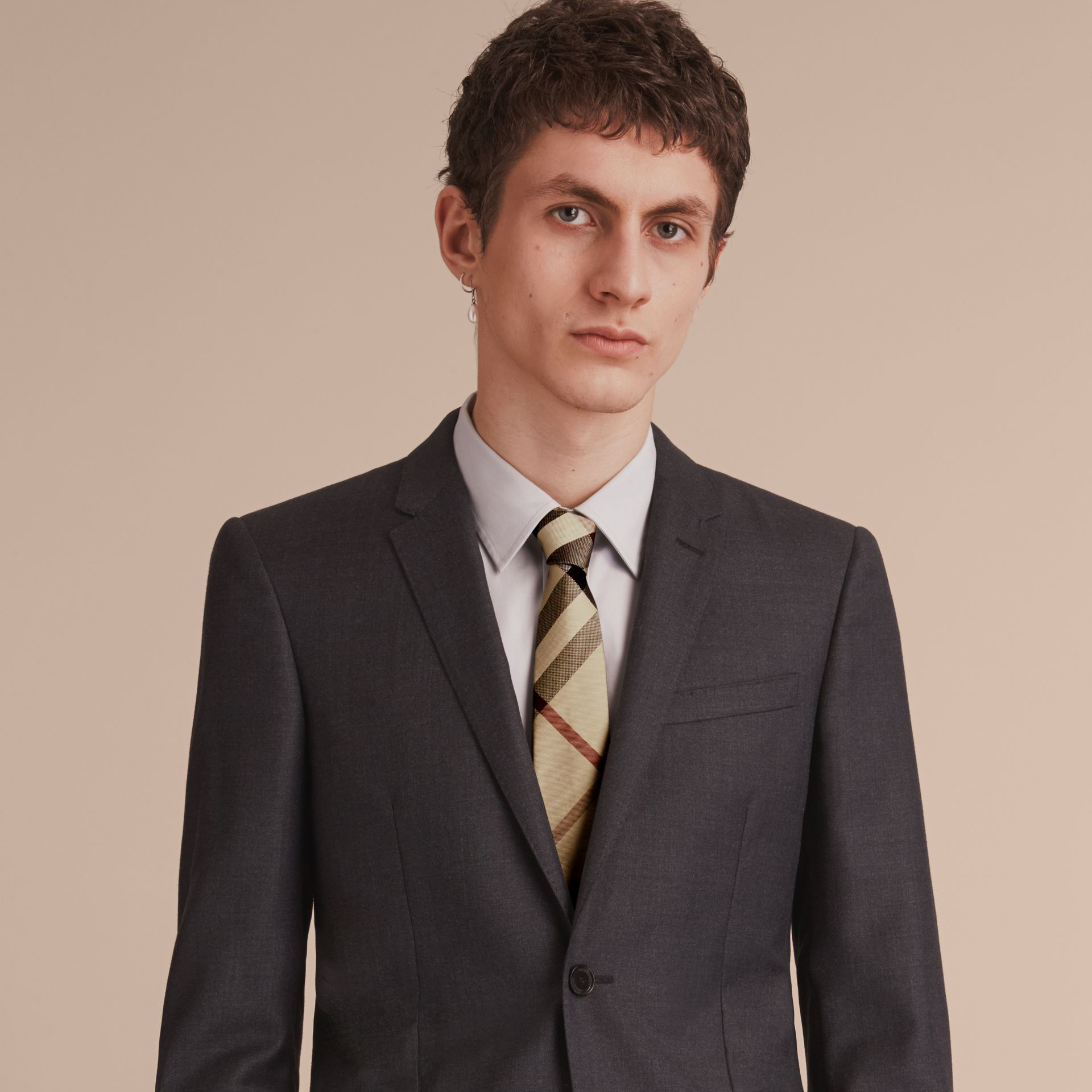Modern Cut Check Silk Tie in New Classic - Men | Burberry Canada - gallery image 3