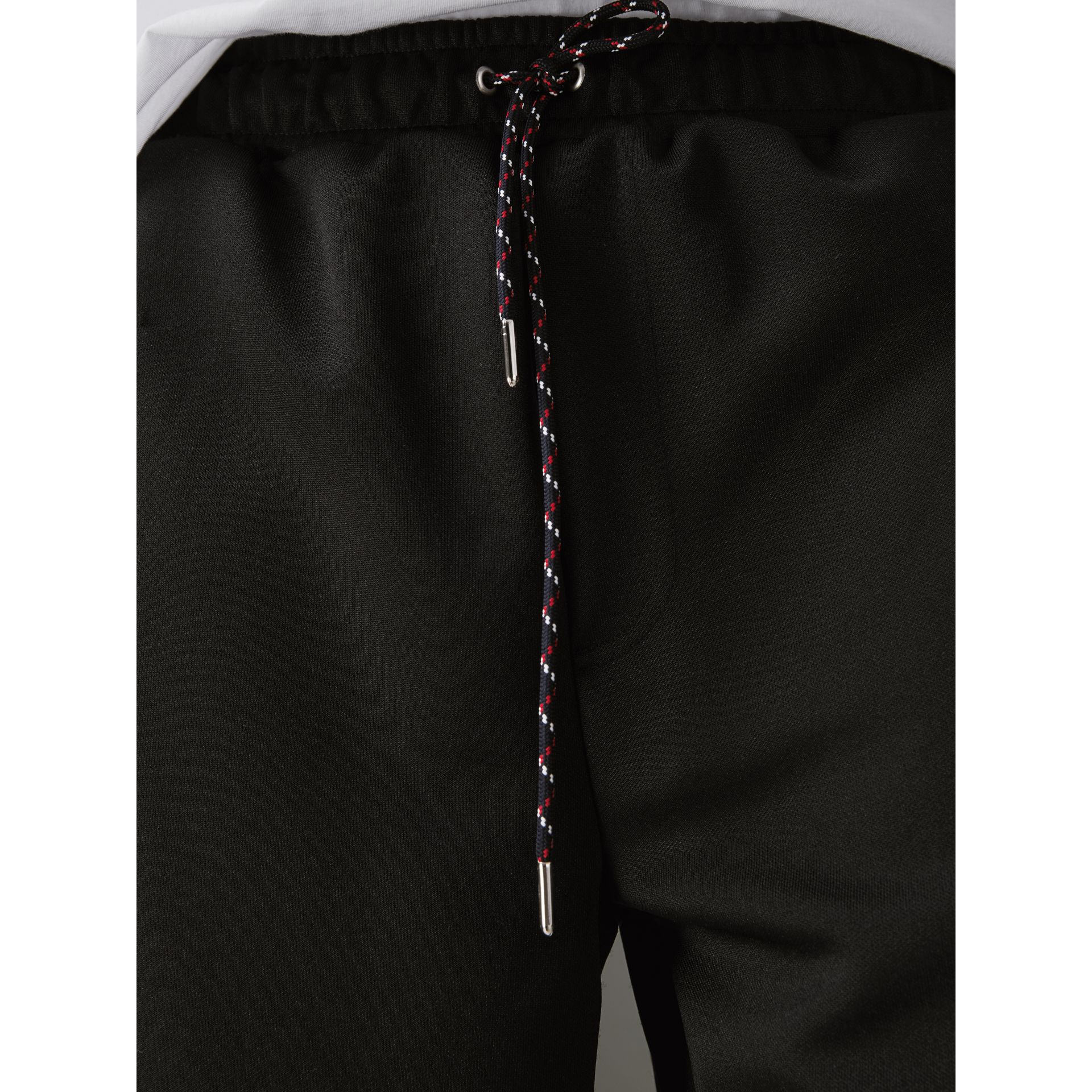 Cotton Blend Drawcord Shorts in Black - Men | Burberry - gallery image 1