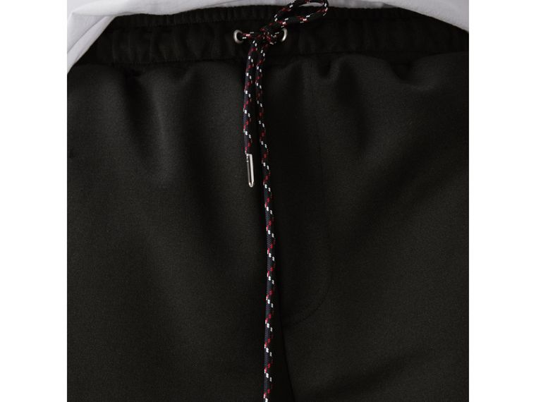 Cotton Blend Drawcord Shorts in Black - Men | Burberry Singapore - cell image 1