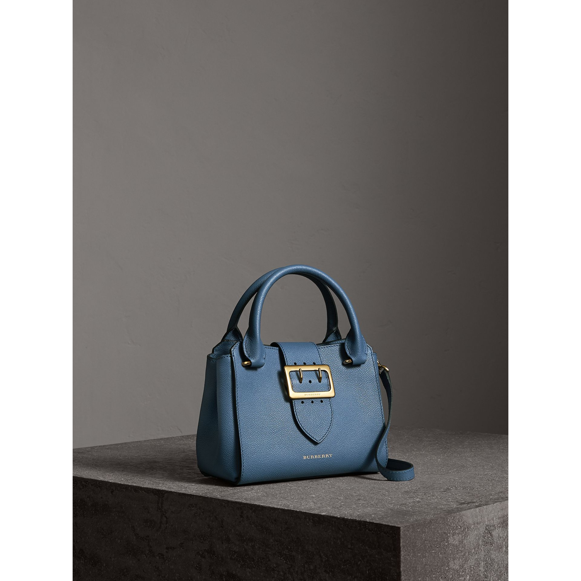 The Small Buckle Tote in Grainy Leather in Steel Blue - Women | Burberry - gallery image 7