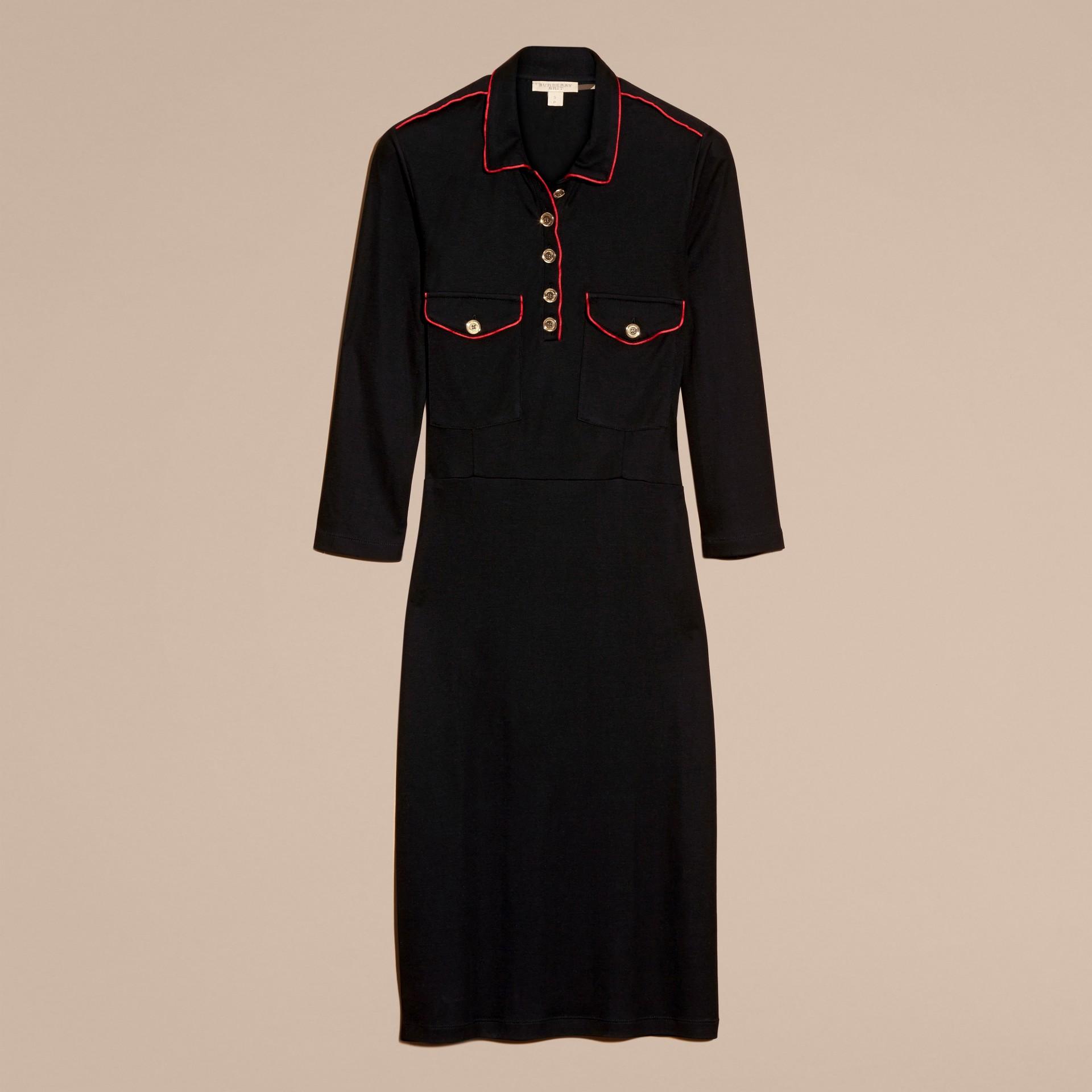 Black Military Shirt Dress - gallery image 4