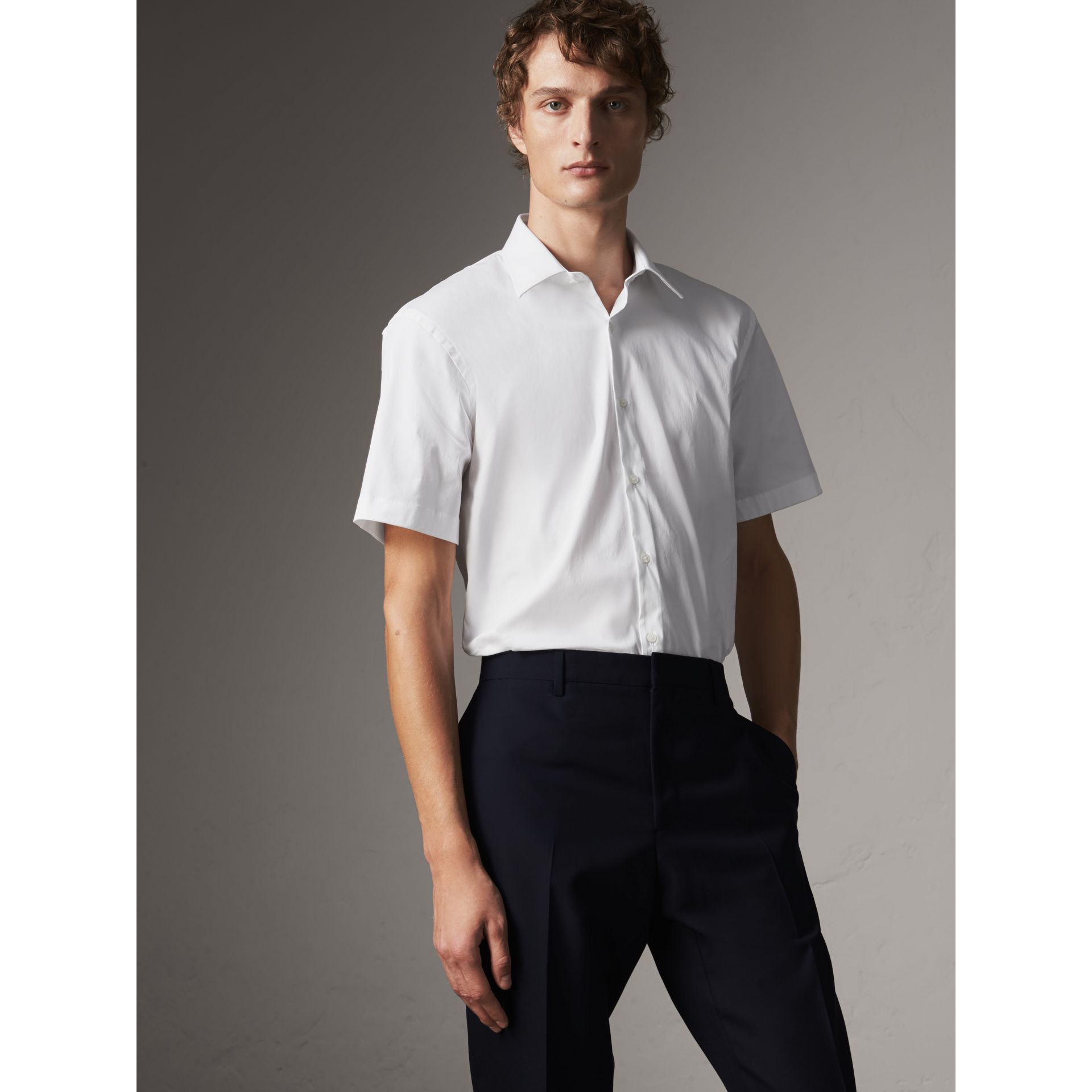 Modern Fit Short-sleeved Stretch Cotton Shirt in White - Men | Burberry - gallery image 1