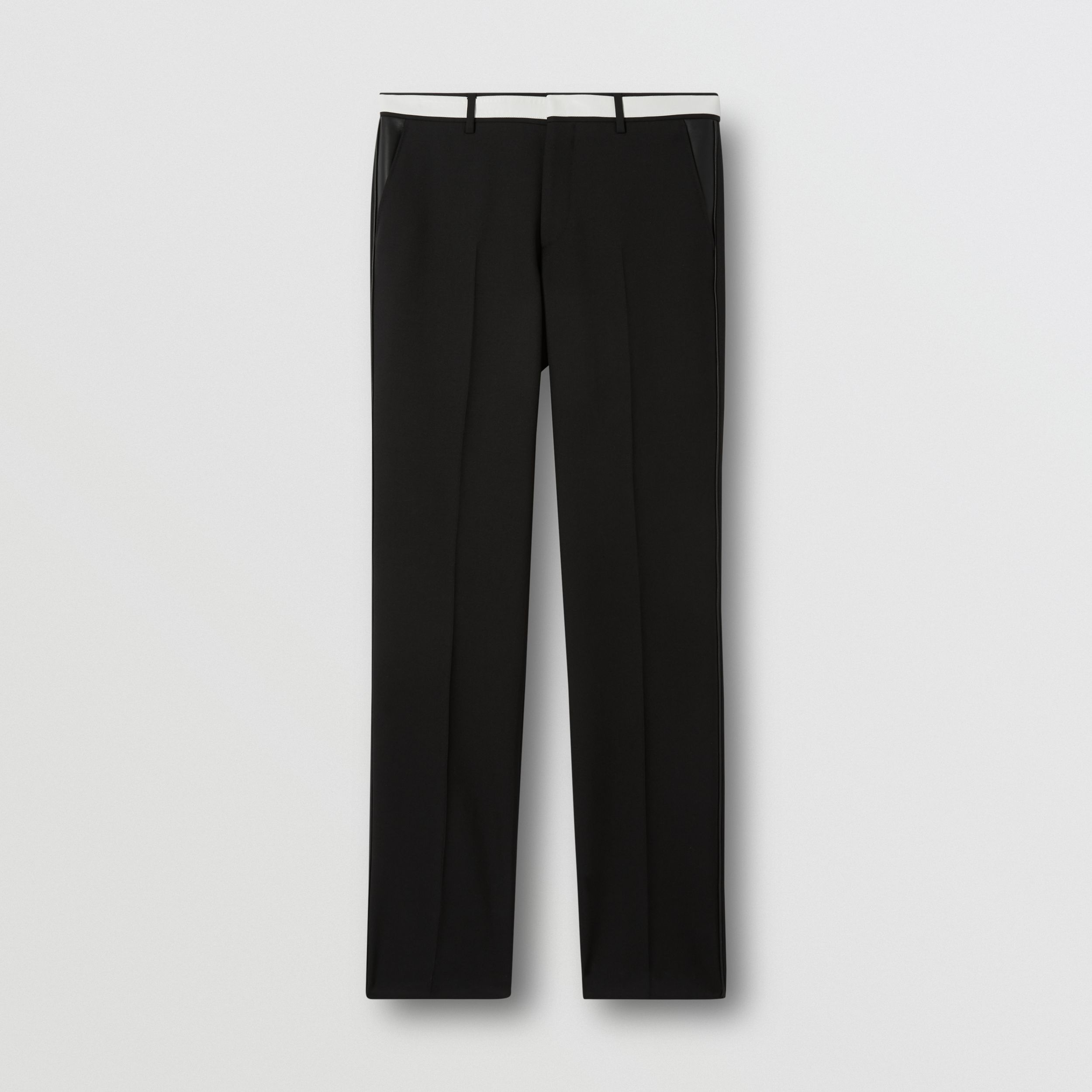 Classic Fit Lambskin Detail Wool Tailored Trousers in Black - Men | Burberry - 4