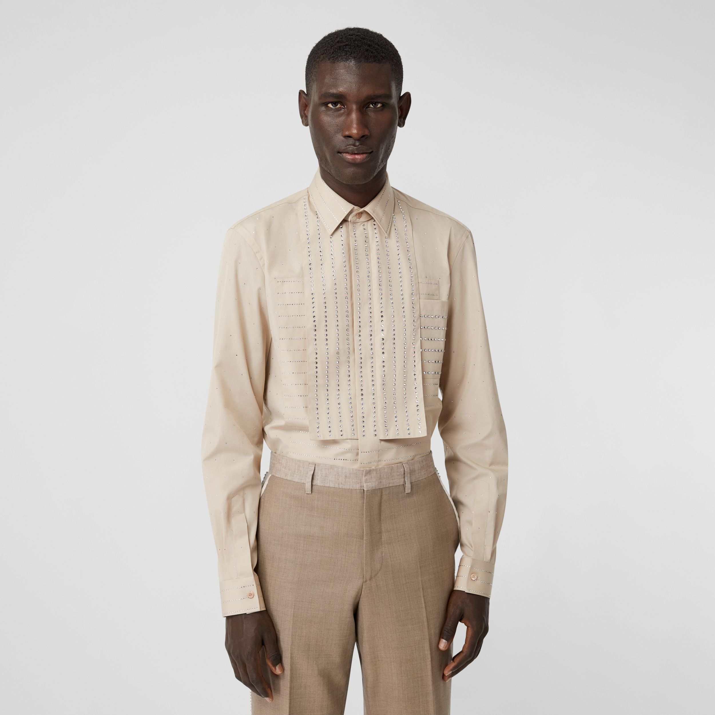 Detachable Collar Crystal Detail Cotton Poplin Shirt in Sesame - Men | Burberry - 1