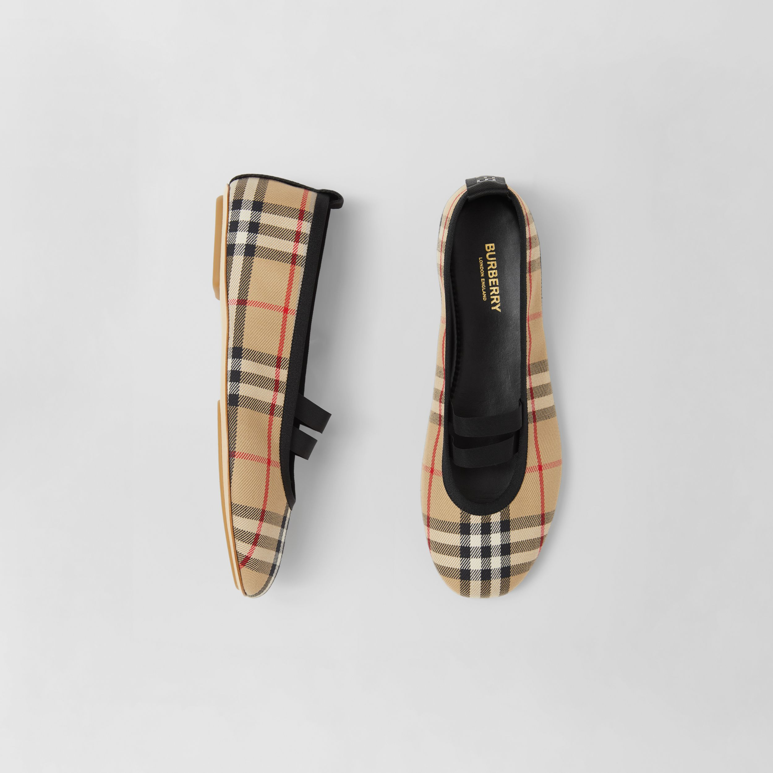 Logo Detail Vintage Check Cotton Ballerinas in Archive Beige - Women | Burberry - 1
