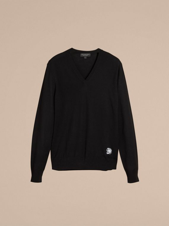 Pallas Helmet Motif Merino Wool V-neck Sweater in Black - Men | Burberry - cell image 3