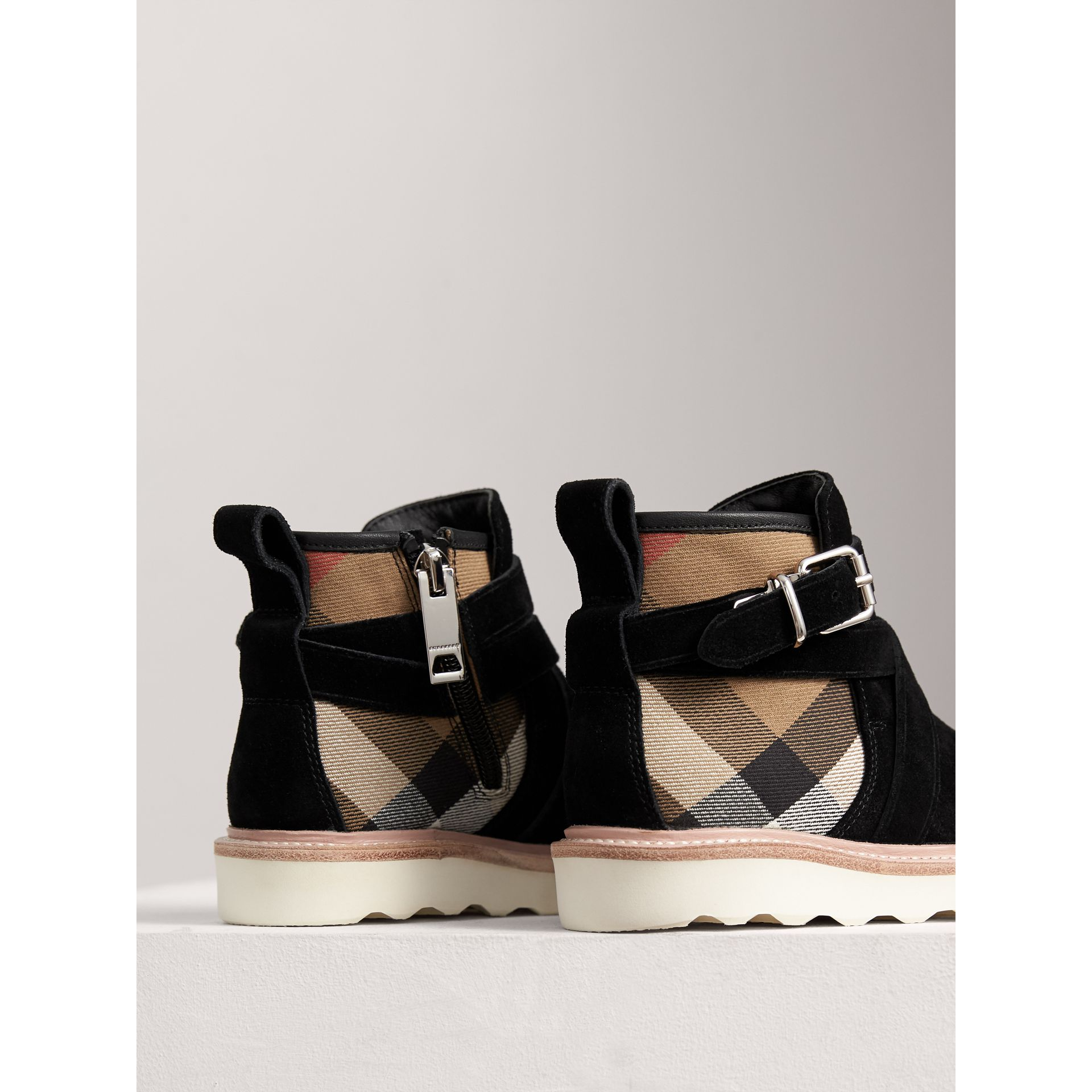 Belt Detail House Check and Suede Ankle Boots in Black | Burberry United Kingdom - gallery image 2