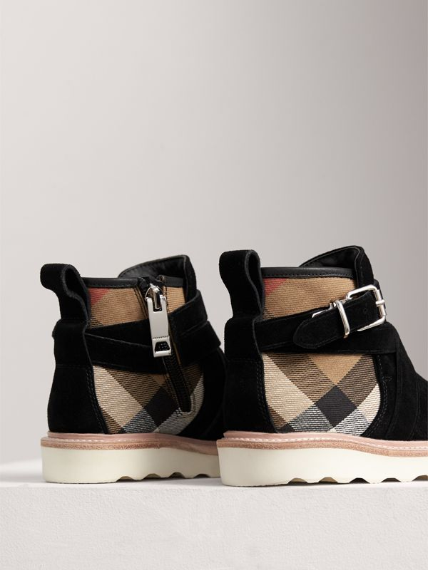 Belt Detail House Check and Suede Ankle Boots in Black | Burberry - cell image 2