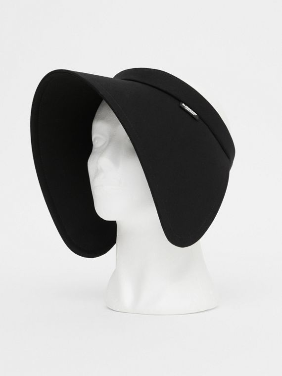 Logo Detail Cotton Twill Bonnet Visor in Black