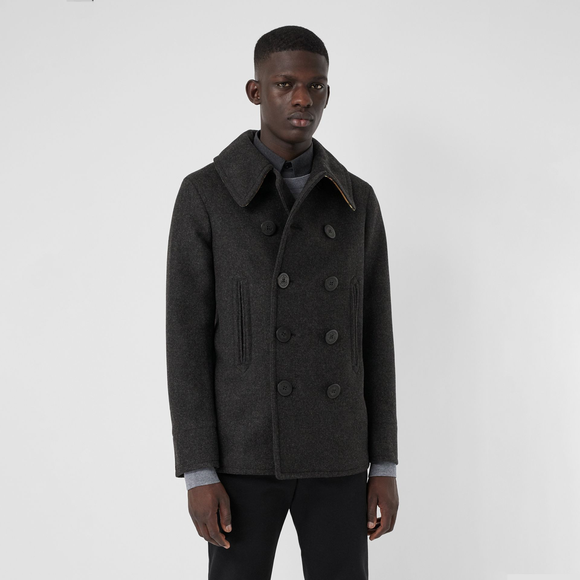 Wool Blend Pea Coat in Dark Charcoal Melange - Men | Burberry United Kingdom - gallery image 4