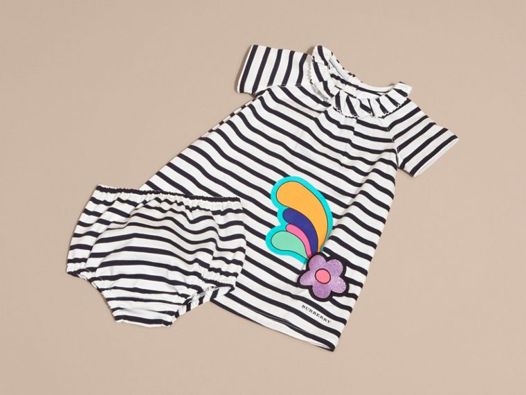 Flower Burst Motif Striped Cotton Dress and Bloomers - cell image 4