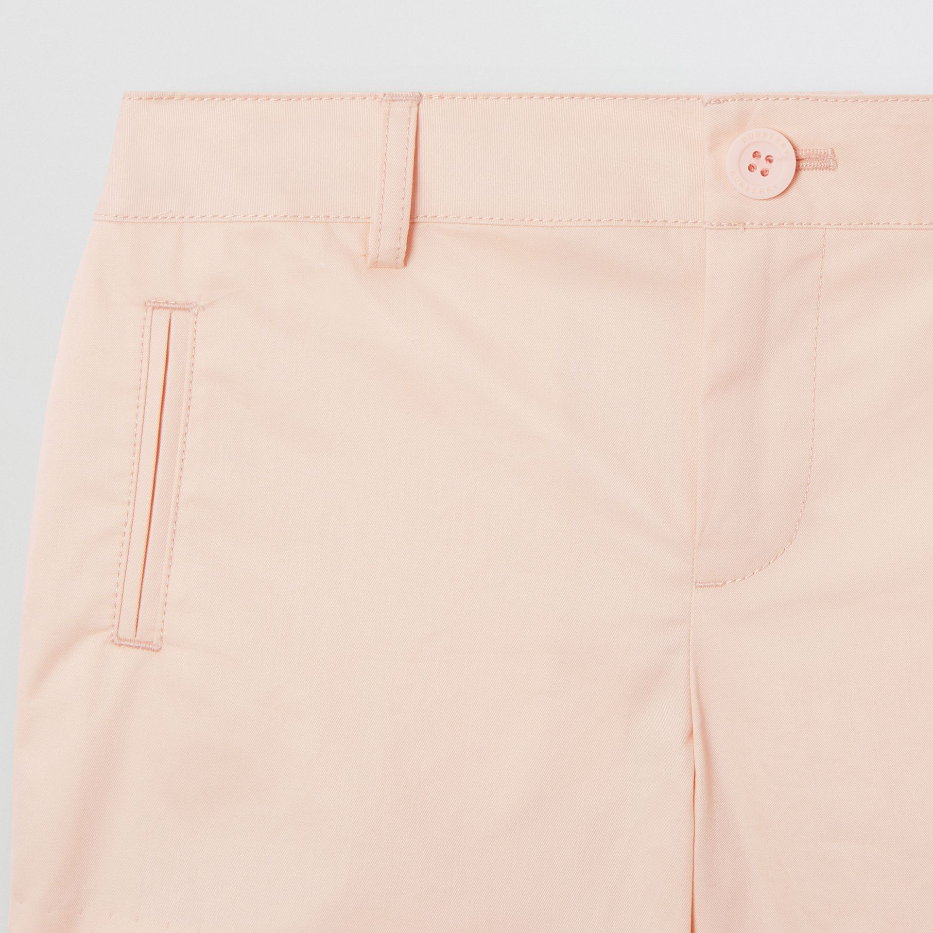 Embroidered Logo Cotton Shorts in Soft Pink   Burberry Australia - gallery image 4