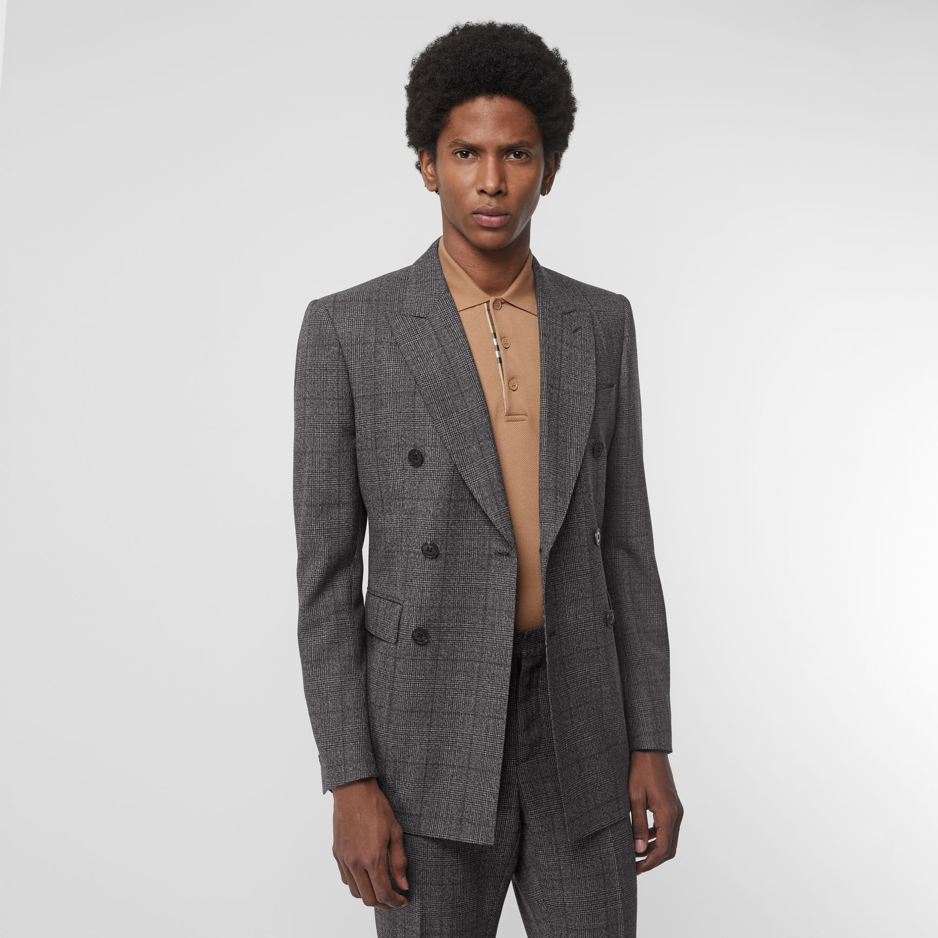 Classic Fit Prince of Wales Check Wool Suit in Charcoal Melange - Men | Burberry Singapore - gallery image 7