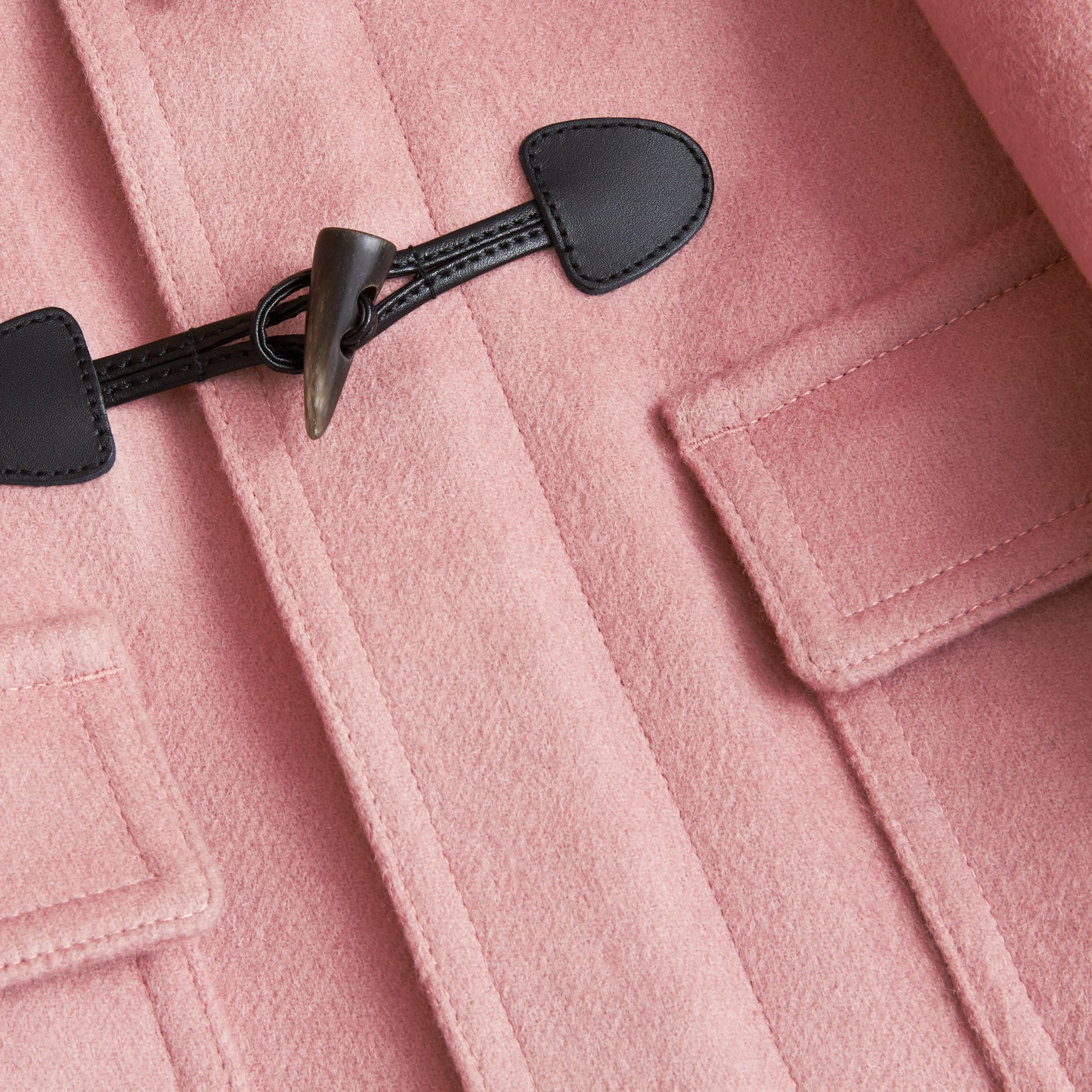 Wool Duffle Coat with Check-lined Hood in Pale Rose - Girl | Burberry - gallery image 2