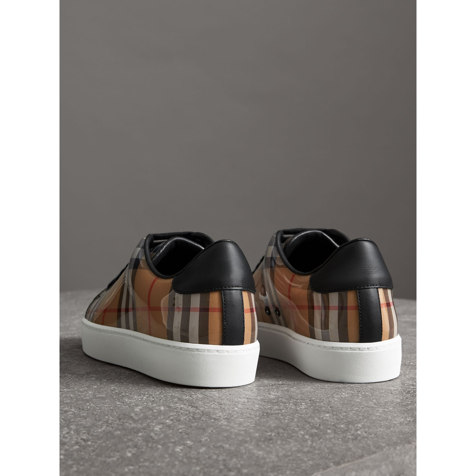 Vintage Check and Leather Sneakers in Antique Yellow - Women | Burberry United Kingdom - gallery image 3