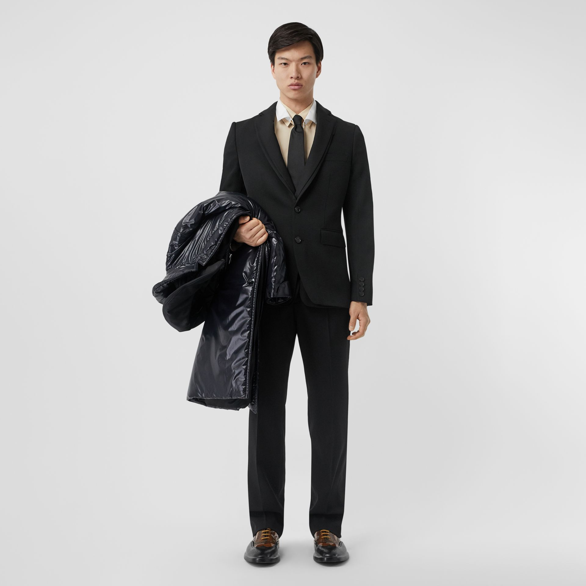 English Fit Reconstructed Wool Tailored Jacket in Black - Men | Burberry United Kingdom - gallery image 1