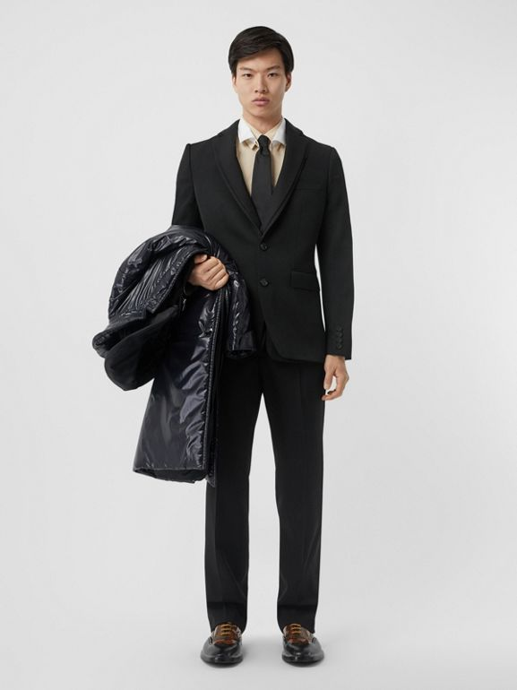 English Fit Reconstructed Wool Tailored Jacket in Black - Men | Burberry United Kingdom - cell image 1