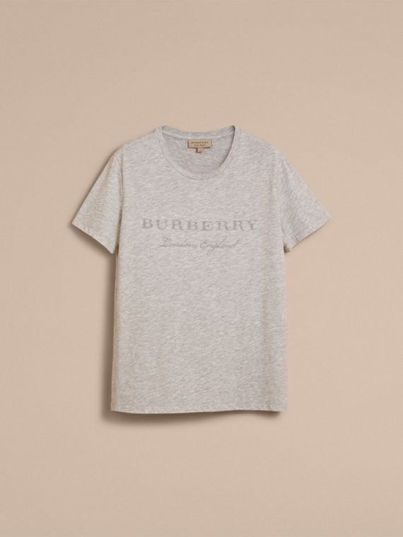 Contrast Motif Cotton Blend T-shirt Pale Grey Melange - cell image 3