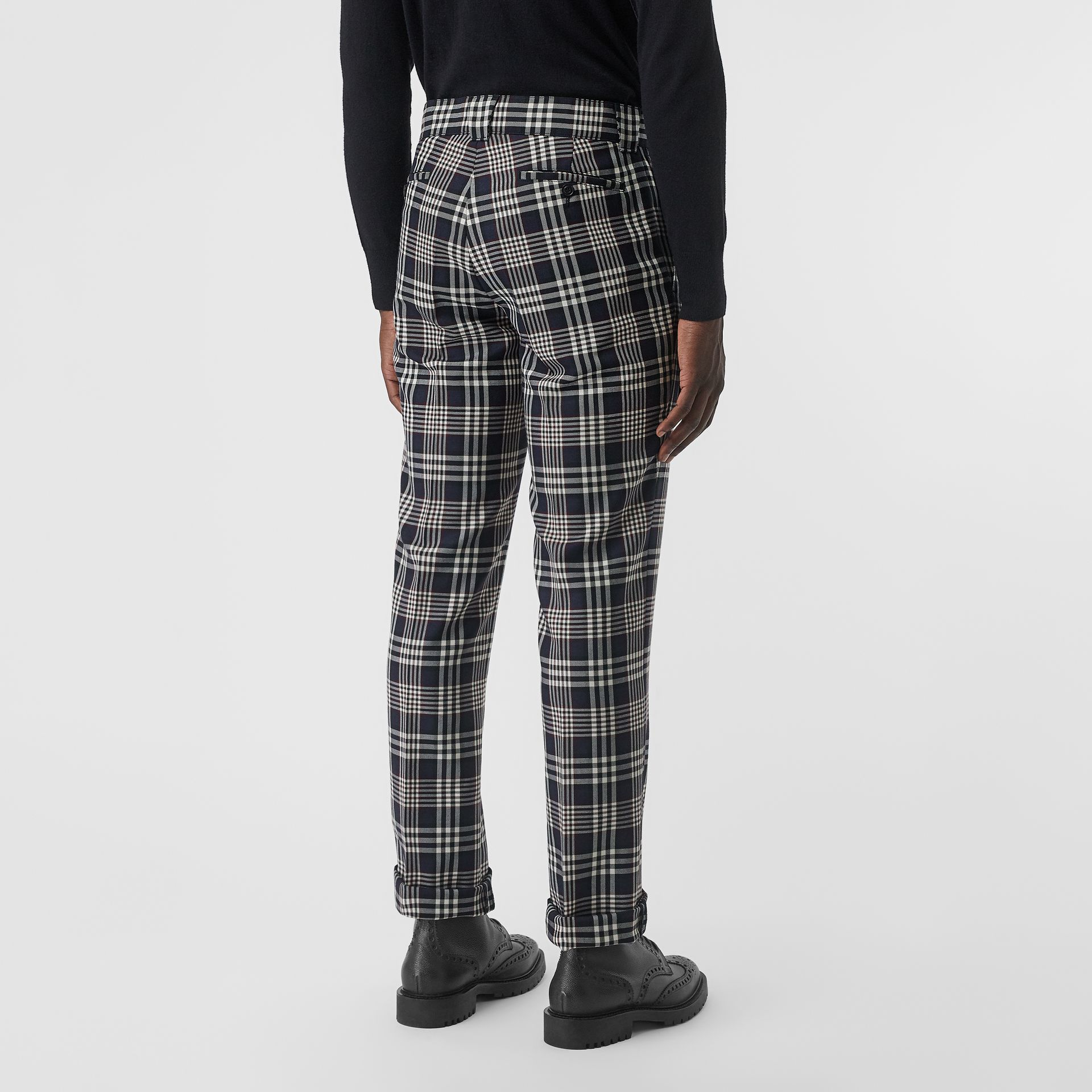 Slim Fit Check Wool Mohair Silk Tailored Trousers in Ink Blue - Men | Burberry - gallery image 2