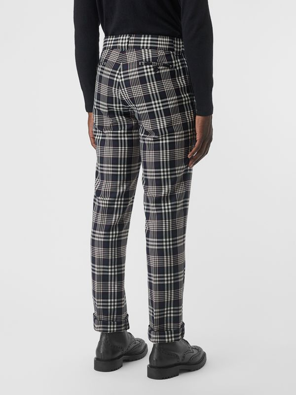 Slim Fit Check Wool Mohair Silk Tailored Trousers in Ink Blue - Men | Burberry United Kingdom - cell image 2